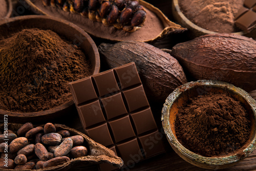 Chocolate , candy sweet, dessert food on natural paper background Fototapete