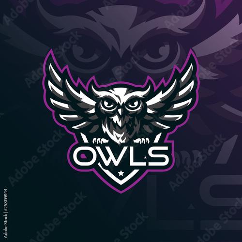 Fotografie, Tablou  owl mascot logo design vector with modern illustration concept style for badge, emblem and tshirt printing