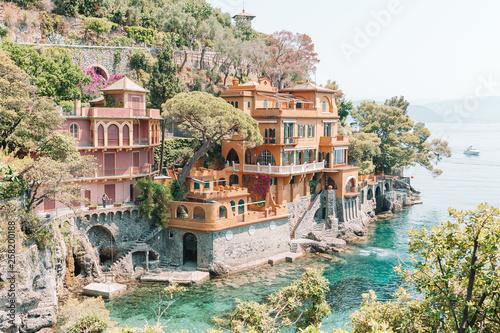 Stampa su Tela Beautiful sea coast with colorful houses in Portofino, Italy