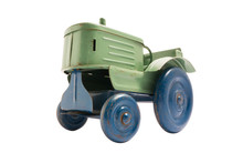 Vintage Toy Green Metal Tractor With Blue Wheels On White Isolated Background
