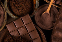 Chocolate , Candy Sweet, Dessert Food On Natural Paper Background