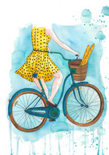 Illustration Of Woman In A Polka Dot Dress Riding A Bicycle