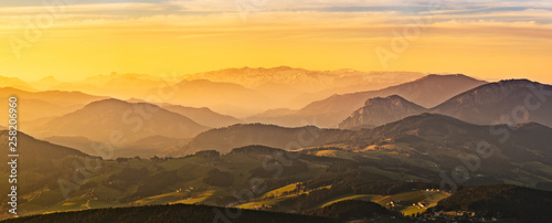 Photo Stands Melon Landscape view during sunset in spring from Graz Schockl mountain in Styria Austria.