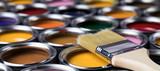 Fototapeta Zwierzęta - Metal tin cans with color paint and paintbrush