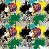 Seamless pattern with a girl with a scarf on her head. Oriental girl with a chump, African. Exotic, bright girl. Tropical plants, palm trees. Multicolored drawing. - 258215996