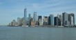 New York City downtown buildings skyline from boat