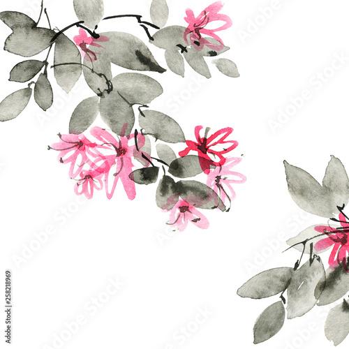 Fototapeten Künstlich Watercolor blossom tree