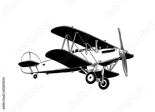 Hand drawn sketch of biplane aircraft in black color Wallpaper Mural