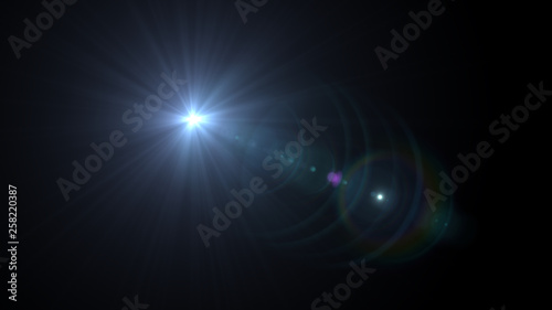 Photo Lens flare glow light effect on black background