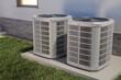 Leinwanddruck Bild - Air heat pumps and house