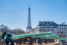 Cannons Outside Les Invalides With The Eiffel Tower In Background - Paris, France