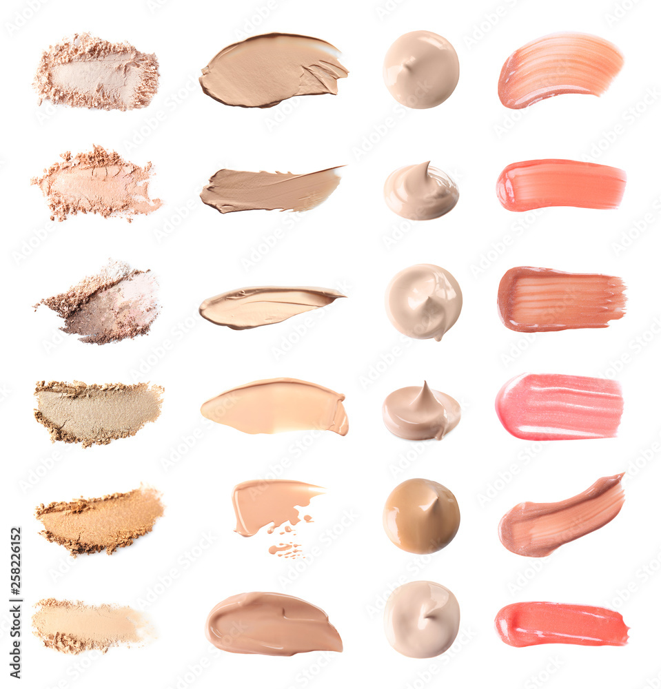 Fototapeta Set with swatches of lipsticks, eye shadows and skin foundations on white background, top view