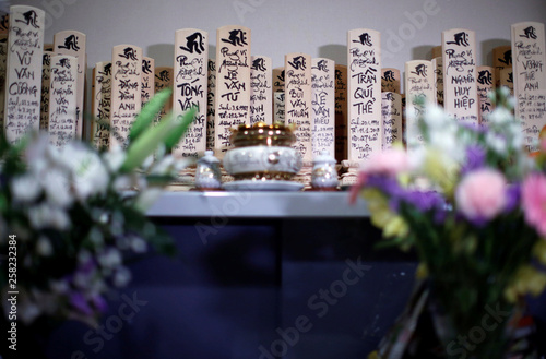 Wooden mortuary tablets inscribed with names of Vietnamese