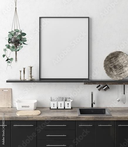 Foto auf AluDibond Boho-Stil Mock up poster frame in kitchen interior background, Ethnic style, 3d render