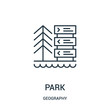 park icon vector from geography collection. Thin line park outline icon vector illustration.