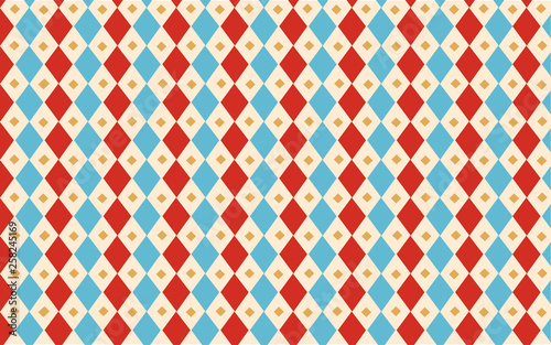 Circus Blue And Red Harlequin Classic Vintage Wallpaper