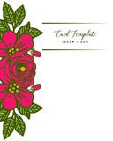 Vector illustration artwork leaf flower frame blooms with invitation card template