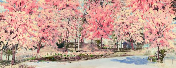 Fototapeta Ogrody Spring flower of landmark in Thailand.