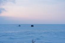 Ice Fishing Shanty On Lake At ...