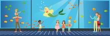 People Visiting An Oceanarium, Children Watching Underwater Scenery With Sea Animals Vector Illustration In Flat Style