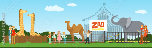 People visiting zoo, kids watching animals at excursion vector Illustration in flat style