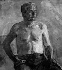 obraz olejny, czarno-biały portret