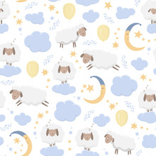 Seamless Pattern With Cute Sheeps Flying On Balloons And Sleeping On Clouds In The Starry Sky. Good Night - Vector Illustration For Children.