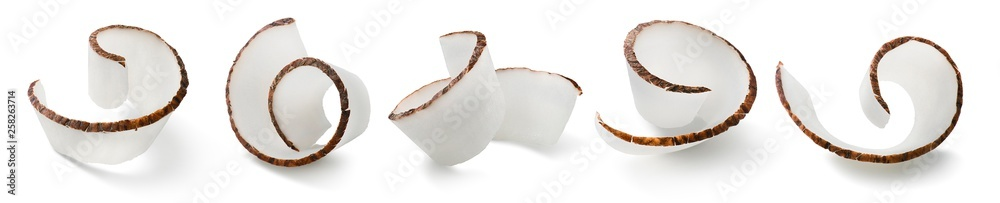 Fototapeta Coconut curl slices collection isolated on white background