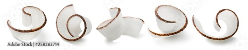 Fotografie, Obraz Coconut curl slices collection isolated on white background