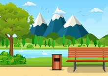 Summer, Spring Day Park Vector Illustration. Wooden Bench, Trash Bin And Street Lamp In Park Trail With Lush Green Trees, Bushes And Mountains In The Background. Vector Illustration In Flat Style