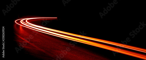Photo sur Aluminium Autoroute nuit light trails in tunnel