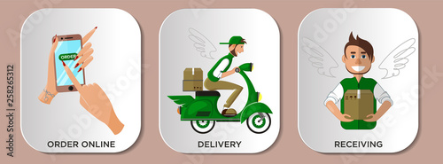 Fotografía Infographics service delivery courier. Online shopping stages