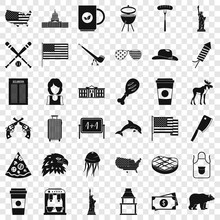 American Icons Set. Simple Style Of 36 American Vector Icons For Web For Any Design