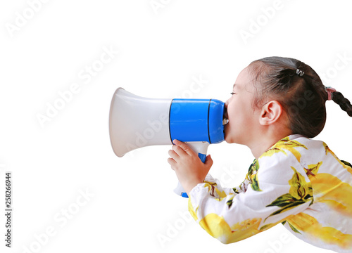 Asian little girl announce by megaphone isolated on white background with copy space Canvas Print
