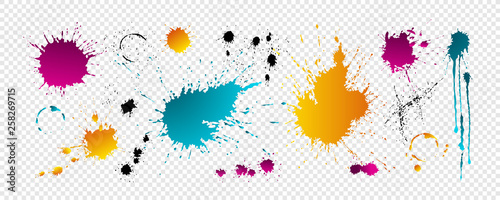 Color blots with drops Wallpaper Mural