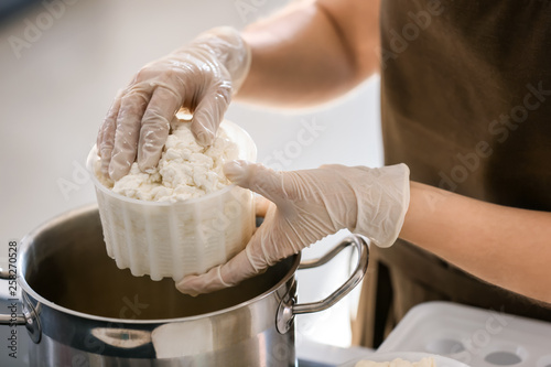 Woman preparing tasty cheese in kitchen, closeup