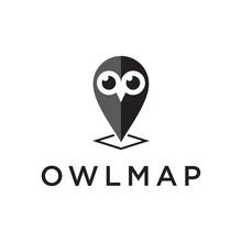Owl Map Logo Design Template