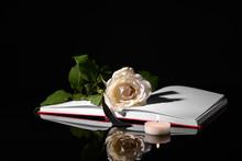 Open Book, Flower, Black Ribbo...
