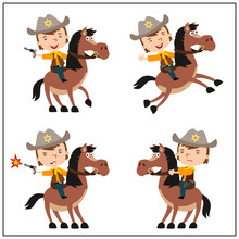 Set Of Funny Boy In Cowboy Suit Riding Horse In Different Poses Isolated On White Background.