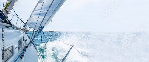 sailboat sailing with waves, template