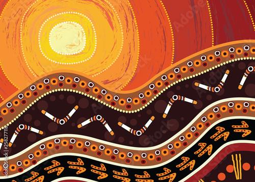 Aboriginal dot art vector painting Wallpaper Mural