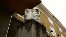 Theatrical Masks, With Tragic And Comic Expression, At The Salzburg Festival Theater, The Birthplace Of Wolfgang Amadeus