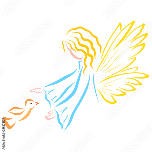 Angel or fairy and flying bird, protects #258278127