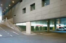 Hospital Parking Lot And Emergencies Entrance Floor. Medical Center