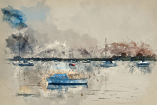 Watercolour Painting Of Landscape Tranquil Harbour At Sunset With Yachts In Low Tide