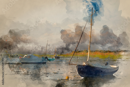 Watercolor painting of Summer evening landscape of leisure boats in harbor at low tide