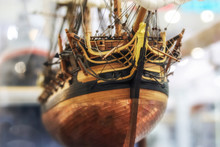 Galleon Model Detail Made Of Wood. Useful As Hobby Example