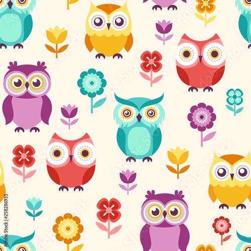 Canvas Prints Creatures seamless cute cartoon owls illustration background - Vector