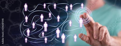 Foto auf Leinwand Indien Man touching a social network concept