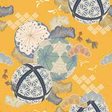 Japanese Temari Ball Pattern Vector. Yellow Background With Cherry Blossom Floer, Dragonfly, Gold Fish Leaves And Pine Tree Ornaments Kimono Textile.